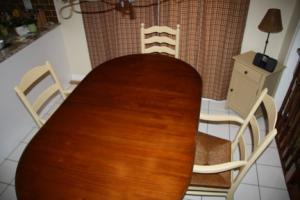 refinished table, painted chairs