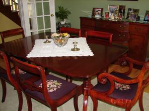 mahogany dining table & chairs